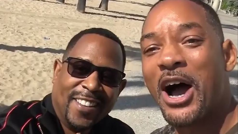 Will Smith and Martin Lawrence in photo pre-bad boys 3 movie production celebration