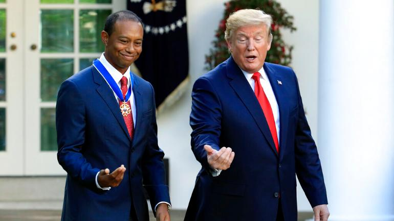 Tiger Woods and Donald Trump at White House