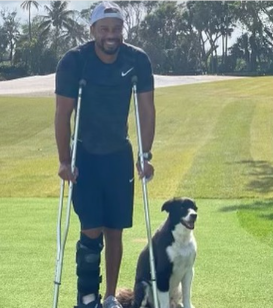 Tiger Woods on crouches